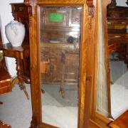 Gründerzeit Wandspiegel, Nussbaum um 1890, guter Originalzustand, B:83cm, T:16cm, H:155cm - 350,-€