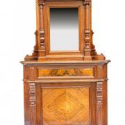 Aufsatzspiegel als Eckmöbel gebaut, Nussbaum um 1890 restauriert sehr selten 125 b 43 t 240 h 2000 €