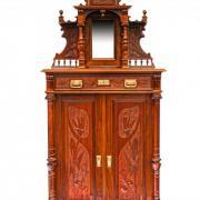 Aufsatzvertiko Nussbaum um 1900 restauriert Vollsäulen floral geschnitzt schöner Aufsatz 97 b 49 t 220 h 1700 €
