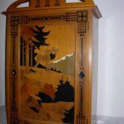 Jugendstilwandschrank Birnbaum um 1900 mit malerei 41 b 20 t 62 h 280 €