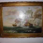 Ölbild im Goldstuckrahmen Kriegsschiffe  Kopist um 1900 120 b 92 h 650 €