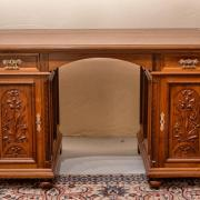 Schreibtisch Nussbaum um 1900 floral geschnitzte Füllungen restauriert 131 b70 t76 h 1200 €