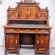 Herrenaufsatzschreibtisch Eiche um 1880 reich geschnitzt ausziehbare Schreibplatte restauriert 127 b72 t 167 h 2600 €