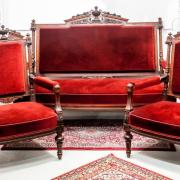 Sitzgarnitur Sofa zwei Sessel Nussbaum um 1880 Polster und Bezug erneuert Sofa 151 b70 t 120 h 3200 €