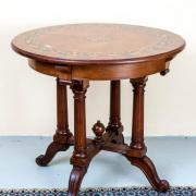 Salontisch Intarsienplatte Nussbaum um 1900 restauriert 84 t 76 h 750 €